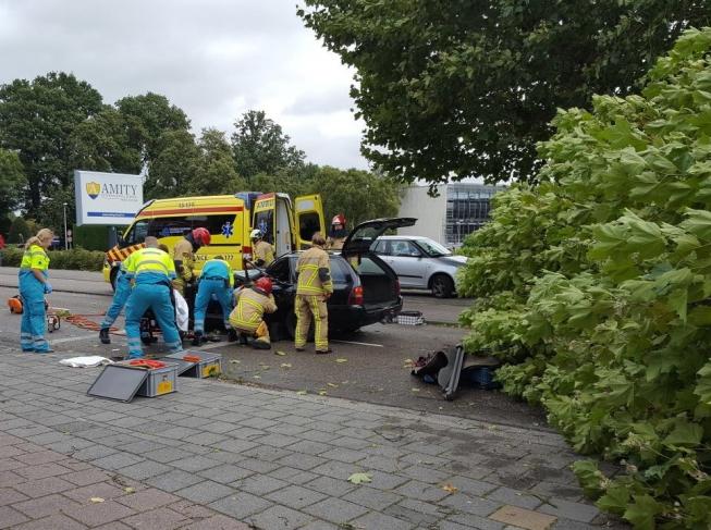Boom plet auto: inzittende zwaargewond