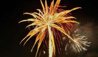 Vuurwerkshow in Stadstuinen tijdens Koningsnacht