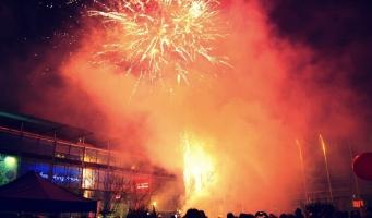 Vuurwerkshow op Stadstuinen tijdens Koningsnacht